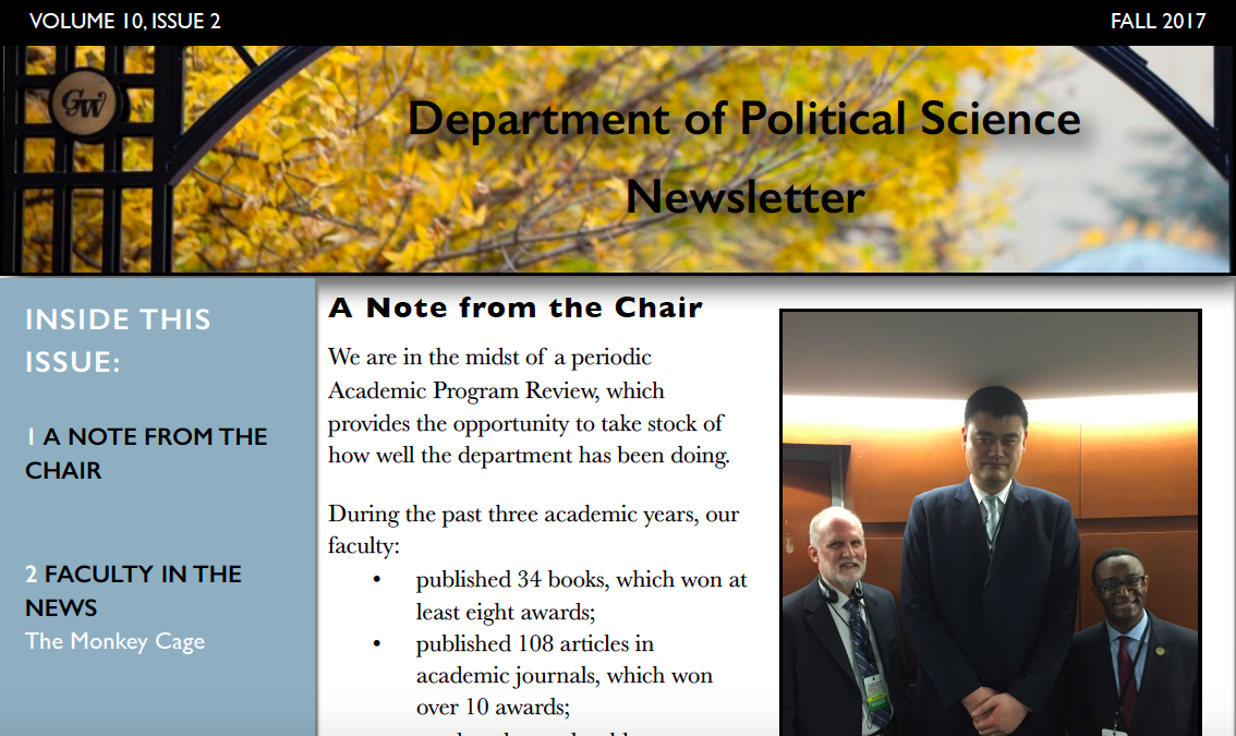 Department of Political Science Fall 2017 Newsletter