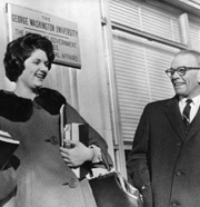 Lynda Bird Johnson (daughter of  President Johnson) with Oswold Colclough outside the School of Government, 1964
