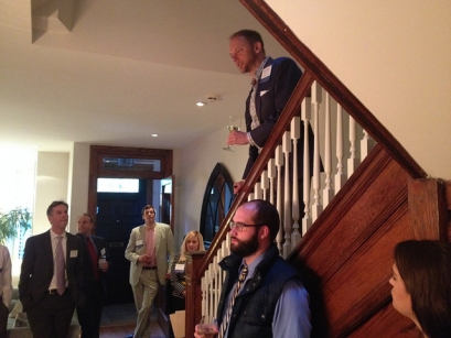 Host Bryan Tramont, BA '89, gives speech at an event for GW Political Science alumni in the Washington, D.C. area on April 24
