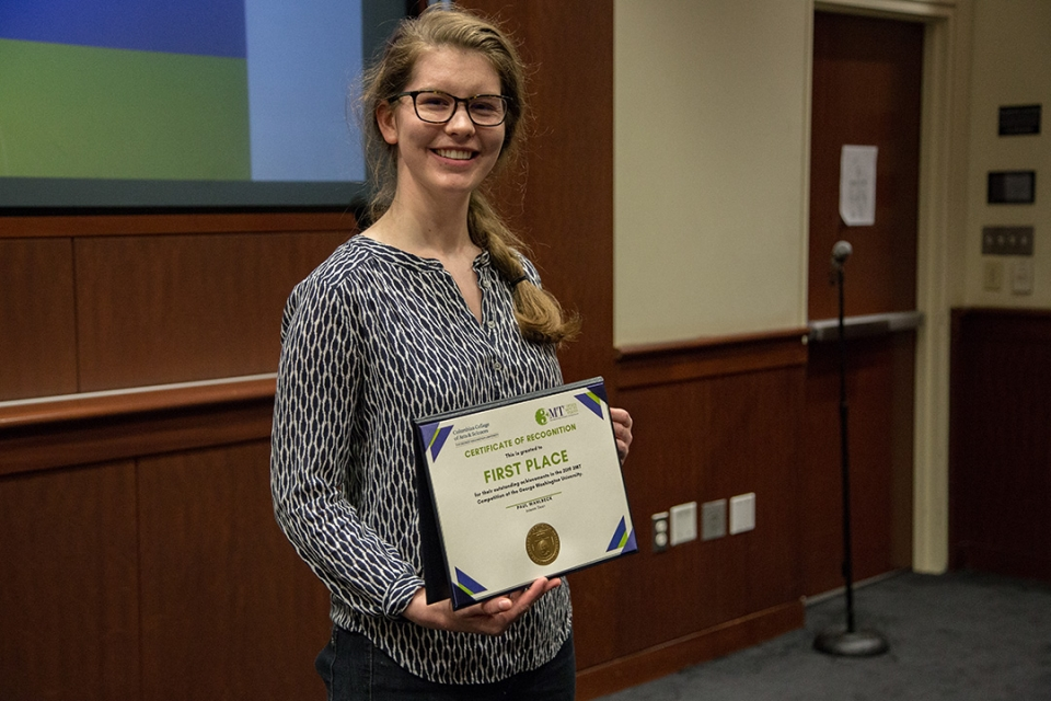 Three minute thesis competition winner Elizabeth Pertner