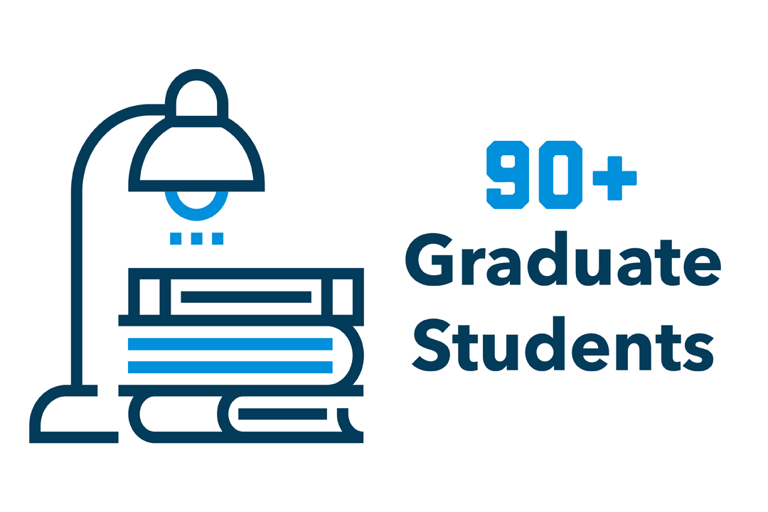 """90+ Graduate Students"" with a graphic of a lamp over a stack of books."