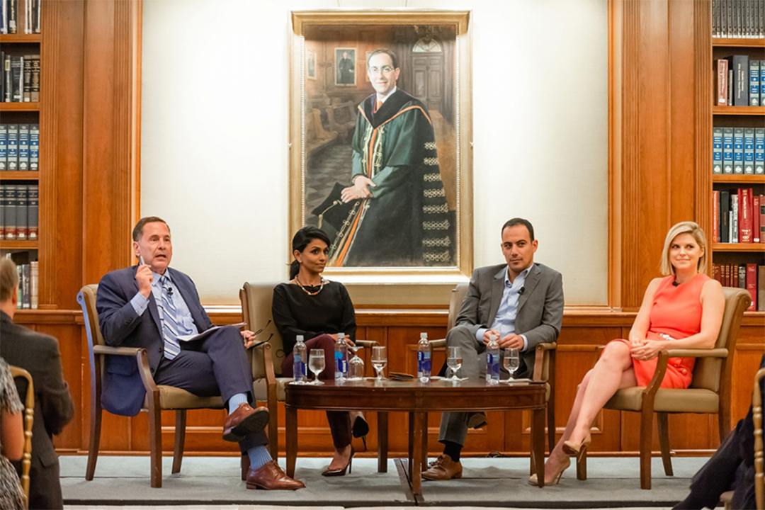 Political Science Alumni discussing midterm election in New York City, 2018