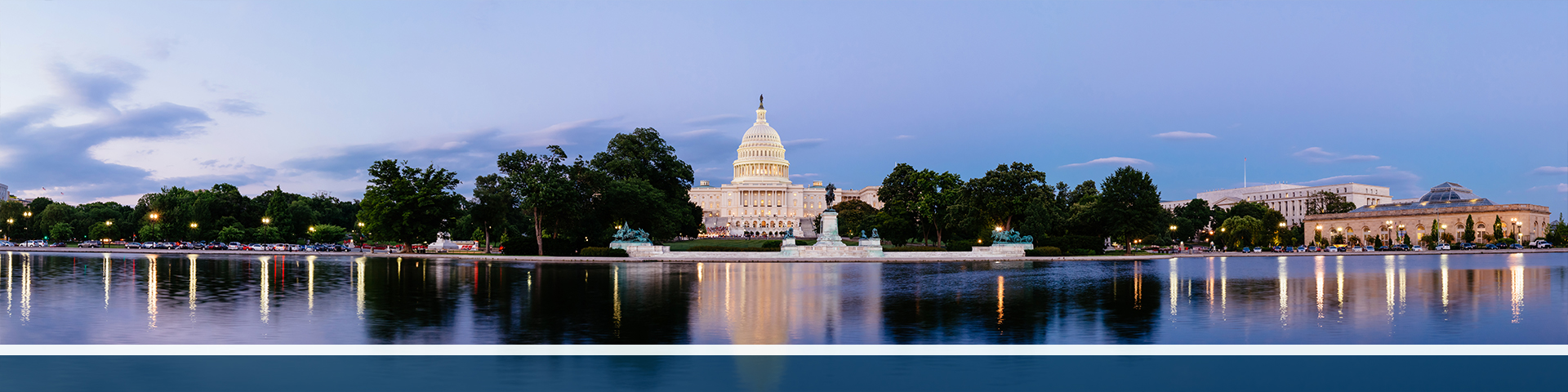 Panorama of the US capitol building from the water