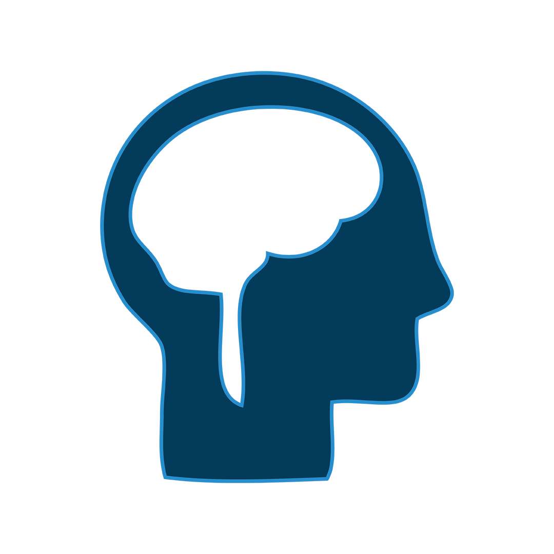 Illustration outlining the brain in a person's profile