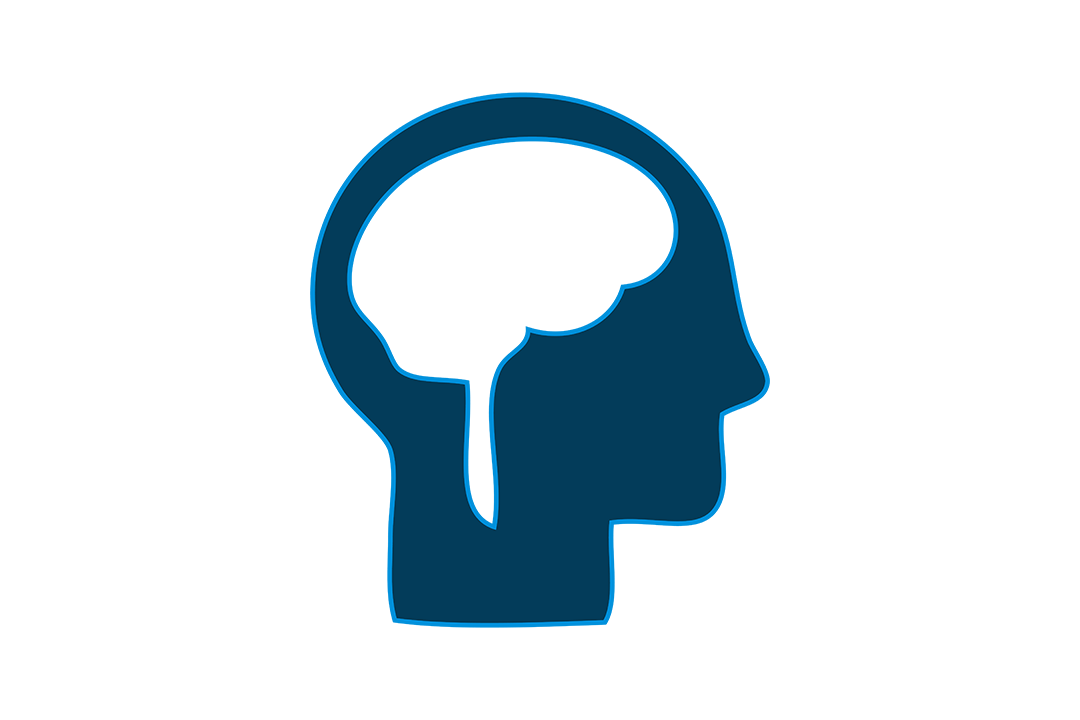 Graphic of the profile of a person's head with a visible brain.