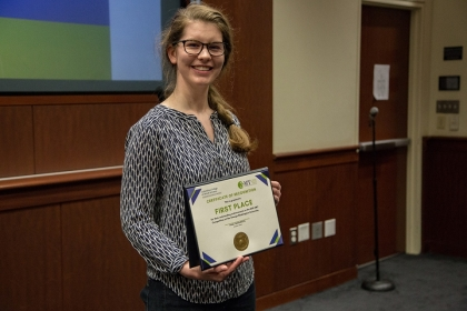 Elizabeth Pertner, a doctoral candidate in political science, was the top winner in the inaugural Three Minute Thesis Competitio